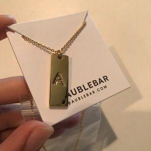 """Gold BaubleBar """"A"""" Bar Necklace"""